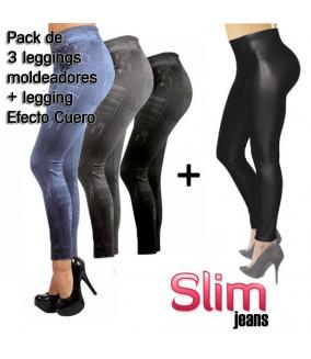Slim Jeans, Pack de 3 + leggin Efecto Cuero