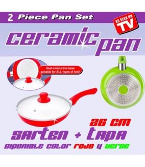 Sarten Ceramica + Tapa 26cm Ceramic Pan (Verde/Rojo)