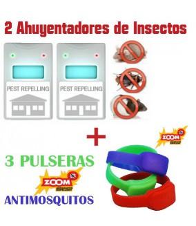 2 Ahuyentadores Insectos + 3 Pulseras Antimosquitos