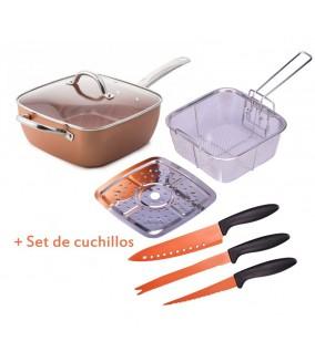 Sartén Antiadherente Cook Chef cuadrada + Cuchillos