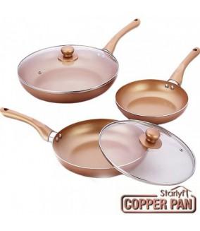 Copper Pan Set de 3 Sartenes de Cobre